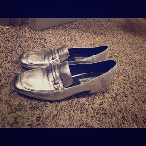 Steve Madden silver loafers